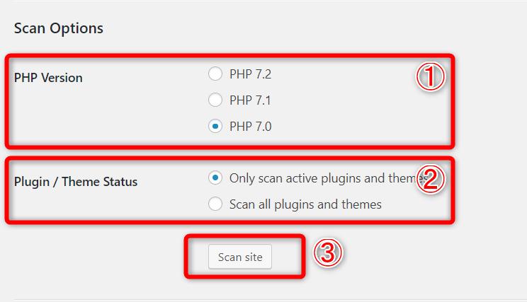 PHP Compatibility Checkerの設定画面